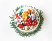 Reserved for Hilary,Needle Felted Ornament,Felted decoration,Miniature Original Art,Collectible,Woodland,Mushrooms