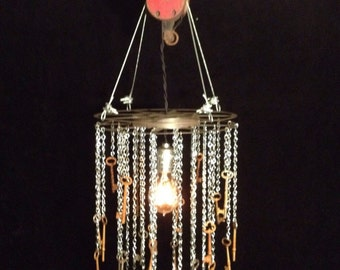 Art Deco Waterfall Inspired Reclaimed Industrial Metal Skeleton Keys Chandelier Hanging Light