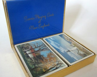 Scenic New England Double Deck Playing Cards Bridge Sealed Vintage Tax Stamp