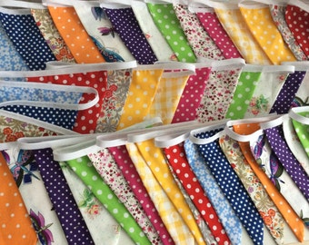 Summer Wedding Extra Long Bunting / Garland / Fabric Banner - 56 Flags - 38ft Long