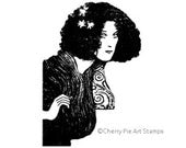 Music woman by Gustav KLIMT - CLING rubber STAMP by Cherry Pie Art Stamps
