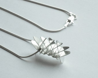 Geometric Torus Mini Segment Pendant - Sterling Silver