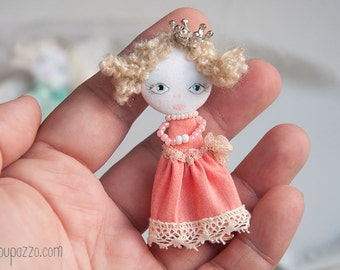 Pink Little Princess and her Tiny House, Art Doll Brooch, gift for her