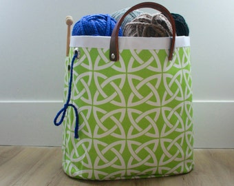Knitting bag, knitting storage, project bag, Celtic knots in neon lime