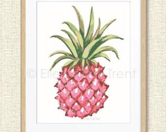 Pink watercolor pineapple print/ Tropical Wall Art/ Tropical Decor/ Girls Wall Art/ Watercolor Decor