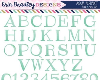 60% OFF SALE Aqua Blue Alphabet Clipart Instant Download Commercial Use Clip Art Alpha for Digital Scrapbooking