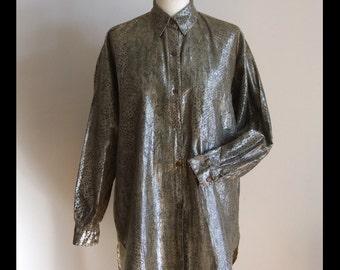 Vintage ladies cotton shirt, snakeskin print on khaki ladies blouse, pale khaki with silver thread long sleeve shirt, cowgirl vintage shirt