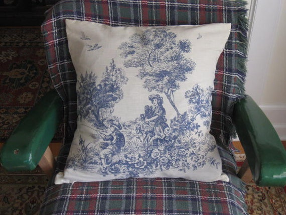 French Blue Throw Pillows : Toile Pillow Cover French Blue pillow cover Throw pillow