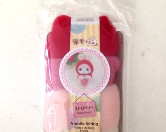 Needle Felt, Roving, felt, DIY, needle felting, rabbit, bunny, pink, red, doll, cream, kid, craft, soft, cute, mascot, SET OF 4 colors wool
