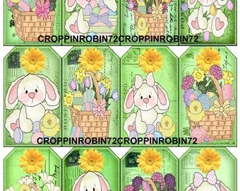 12 Easter Bunny (58-E) Scrapbook Card Embellishments Hang Gift Tags