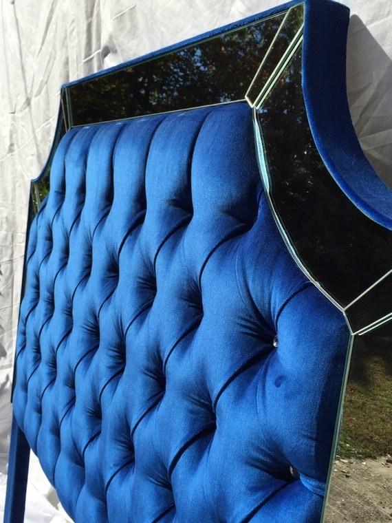 Royal Blue Velvet Tufted Headboard Upholstered Headboard With