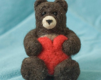 Needle Felted Bear with Heart