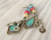 Tribal Boho Earrings, Kuchi Metalwork, Red Gold and Green, Handmade Dangle Earrings, Colorful