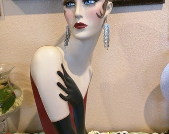 "Vintage Style Art Deco Flapper 26"" Mannequin Head/ Hat Stand"