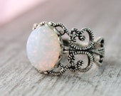 Sterling Silver Opal Ring, White PinFire Opal Rings,Vintage Glass Opal Ring,Filigree Opal Ring,Pink Opal,Opal Jewelry,October Birthstone,