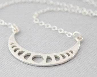 Moon Phases Necklace, Sterling Silver Moon Necklace, Moon Jewelry, Moon Phase Pendant, Celestial Jewelry, Lunar Necklace, Astronomy