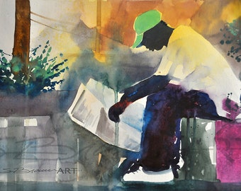 Getting Knowledge Watercolor Painting, African American Art, Contemporary Art, Urban Art, Abstract Art, Black Artwork, Large African Art