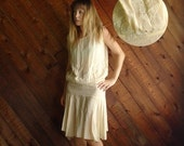 20% OFF mid-season ... Frosted Cream Vintage 20s 30s Creamy Ivory Silk Crepe Flapper Dress XS S