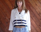 30% off ... White and Navy Sailor Striped CROP Blazer Jacket - Vintage 80s - SMALL S