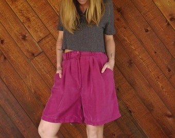extra 25% off SALE ... Bright Fuchsia Purple Silk High Waist Shorts - Vintage 90s - MEDIUM