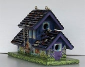 Unique Blue and Lavender Apartment Complex Birdhouse , Handcrafted , Hand Painted with Clean Out