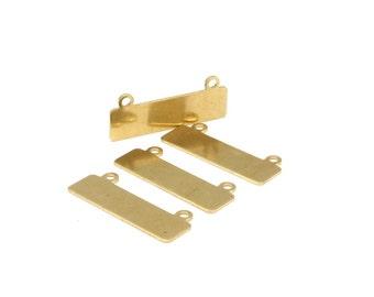 Shiny Bracelet Components, 20 Raw Brass Bracelet Parts Connectors (35x10x0.80mm)  BRC140--D417