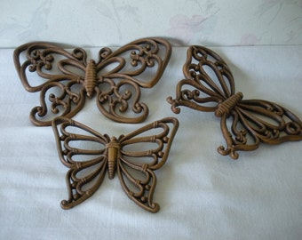 Vintage Set of 3 HOMCO SYROCO BUTTERFLIES Faux Bois Wood Look 1970s Wall Hanging Wall Decor Set