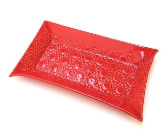 festive retro  hand built porcelain tray ...   ceramic red dish