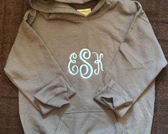 Monogrammed ADULT hoodies. S, M, L, XL, 2X, 3X  Lots of colors.  Monogrammed sweatshirt.