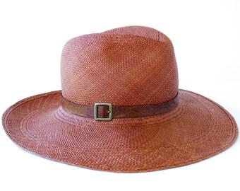 Straw Panama Hat Handmade Hat Handwoven Straw Hat Wide Brimmed Sun Hat Beach Accessories Women's Hat Men's Hat Summer Hat Brown Straw Hat
