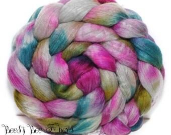 GLORIUMPTIOUS - Merino Silk Combed Top, Merino Mulberry Silk, Wool Roving, Spinning Fiber Handpainted Wool, Hand Dyed Roving - 4.2 oz