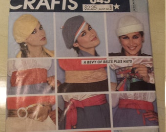 1970s Womens Hats and Belts Accessory Package McCalls 645 Vintage Sewing Pattern UNCUT