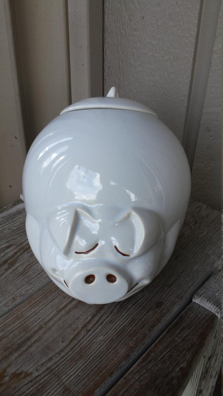White Ceramic Pig Cookie Jar