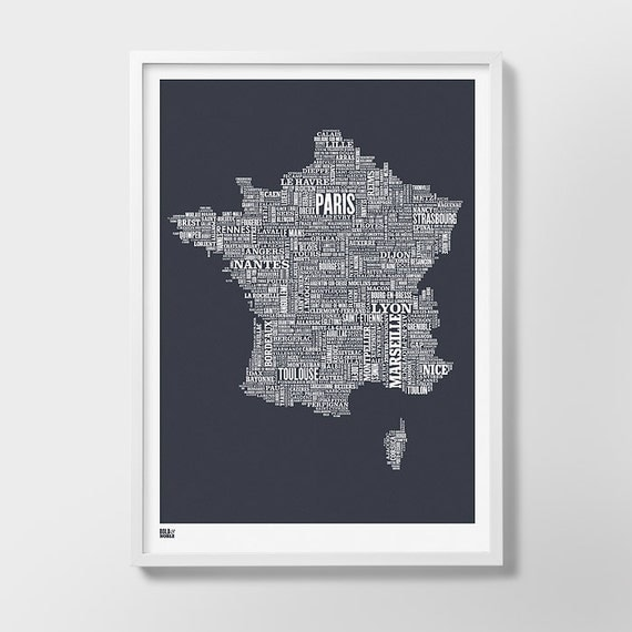 France Type Map Screen Print, France Word Map, France Font Map, France Screen Print, France Wall Artwork, France Map, France Wall Poster