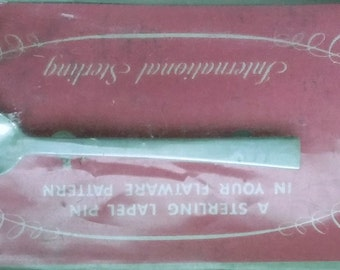 Sterling Siliver Spoon Pin Flatware Pattern Continental by International MIP