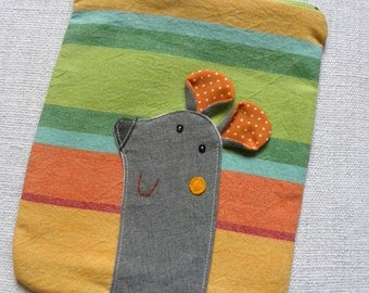 Mousy pouch on multicolor stripes