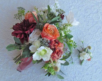 Fall Boho Bridal Bouquet in Burgundy, Oranges and White, with matching Boutonniere...Ready to ship