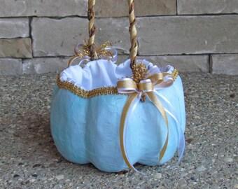Large Light Blue Pumpkin Basket for your Cinderella Wedding