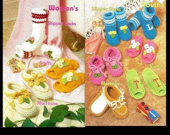 Crochet Slippers Pattern - Moccasins, Slipper Socks, and More - Sizes For Children, Women, Men - PDF 1248718 - Instant Download