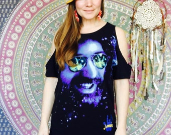 Cosmic Jerry Garcia Galaxy Eco Friendly Cut Out open Off The Shoulder Upcycled Tshirt/Tee/Top/Shirt One Size
