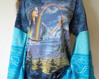 Rainbow Sky Tie Dye Print Eco Friendly Bell Sleeve Boho Hippie Batik Tapestry Drawstring Waist Upcycled Tshirt/Tee/Top/Shirt Womens One Size