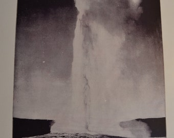 1894 Scenic Photography of America - Old Faithful Yellowstone - Landscape Nature Antique Victorian Era Fine Art for Framing 100 Years Old