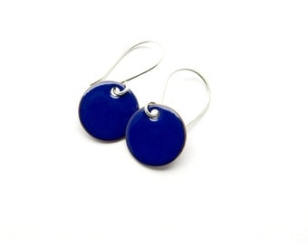 Small Blue Earrings - Royal Blue Earrings - Blue Enamel Earrings - Blue Dangle Earrings / Candies