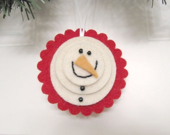 Wool Felt Snowman Ornament Christmas Decoration Handmade from Felted Wool Sweaters no831