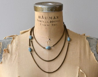 Art Glass necklace | vintage 1920s necklace | brass and glass long 20s necklace