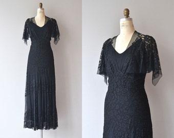Valoria silk lace gown | vintage 1930s dress | black lace 30s dress
