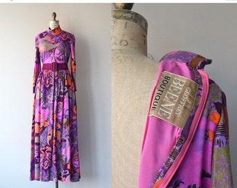 25% OFF.... Geoffrey Beene dress   vintage 1970s maxi dress   psychedelic wool 70s dress