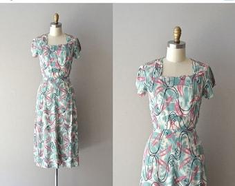 25% OFF.... Astral Plane dress | vintage rayon 40s dress • 1940s printed rayon dress