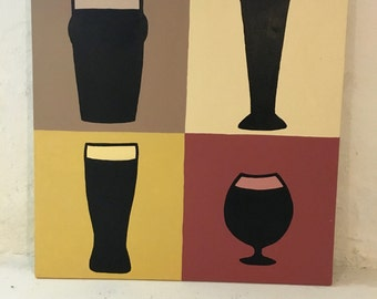"""20""""x20"""" Beer Glass Painting"""