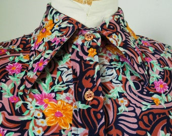 Vintage blouse, 1970s, Elles Belles, nylon knit, pointy collar, small, medium